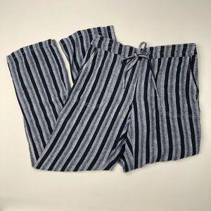 Per Se Linen Blend Blue Striped Loose Boho Pants